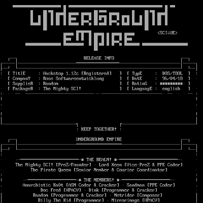 Underground Empire Release Info and history (from HackStop 1.12c) (1996 April 17) thumbnail